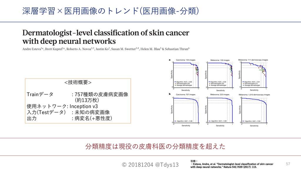 © 20181204 @Tdys13 57 分類精度は現役の⽪膚科医の分類精度を超えた 深層学...