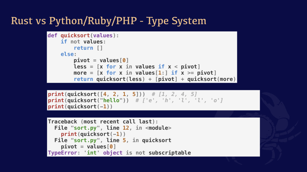 Rust vs Python/Ruby/PHP - Type System def quick...