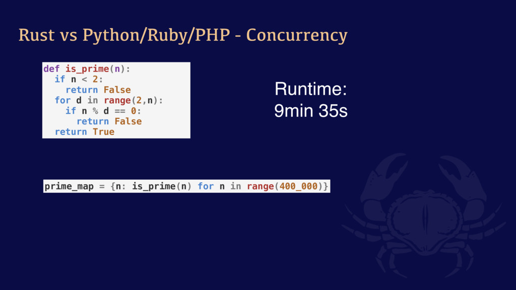 Rust vs Python/Ruby/PHP - Concurrency prime_map...