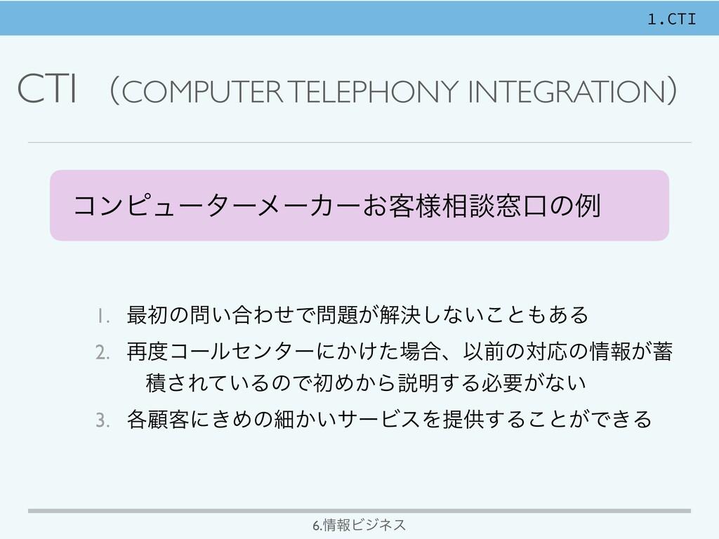 CTI ʢCOMPUTER TELEPHONY INTEGRATIONʣ ίϯϐϡʔλʔϝʔΧ...