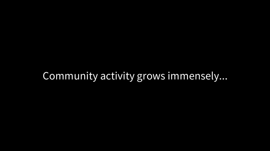 Community activity grows immensely...