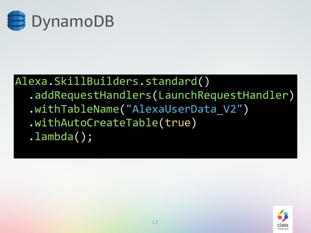 12 DynamoDB Alexa.SkillBuilders.standard() .add...