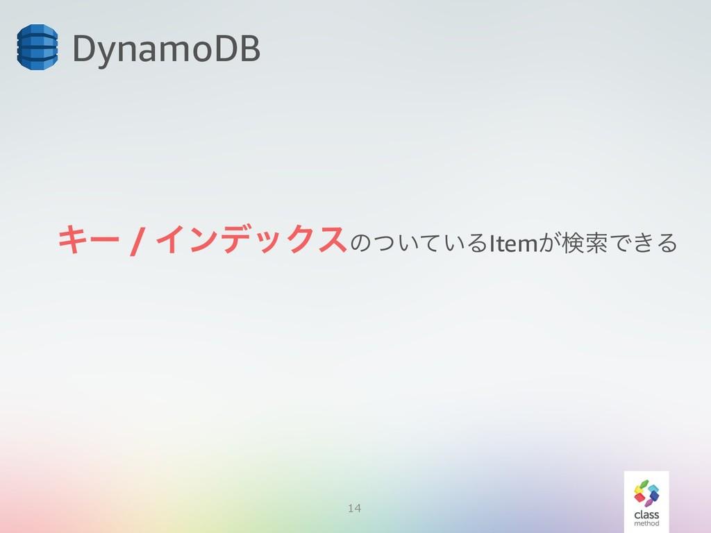 14 DynamoDB Ωʔ / ΠϯσοΫεͷ͍͍ͭͯΔItem͕ݕࡧͰ͖Δ