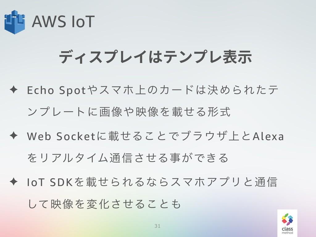 31 AWS IoT ✦ Echo SpotεϚϗ্ͷΧʔυܾΊΒΕͨς ϯϓϨʔτʹը૾...