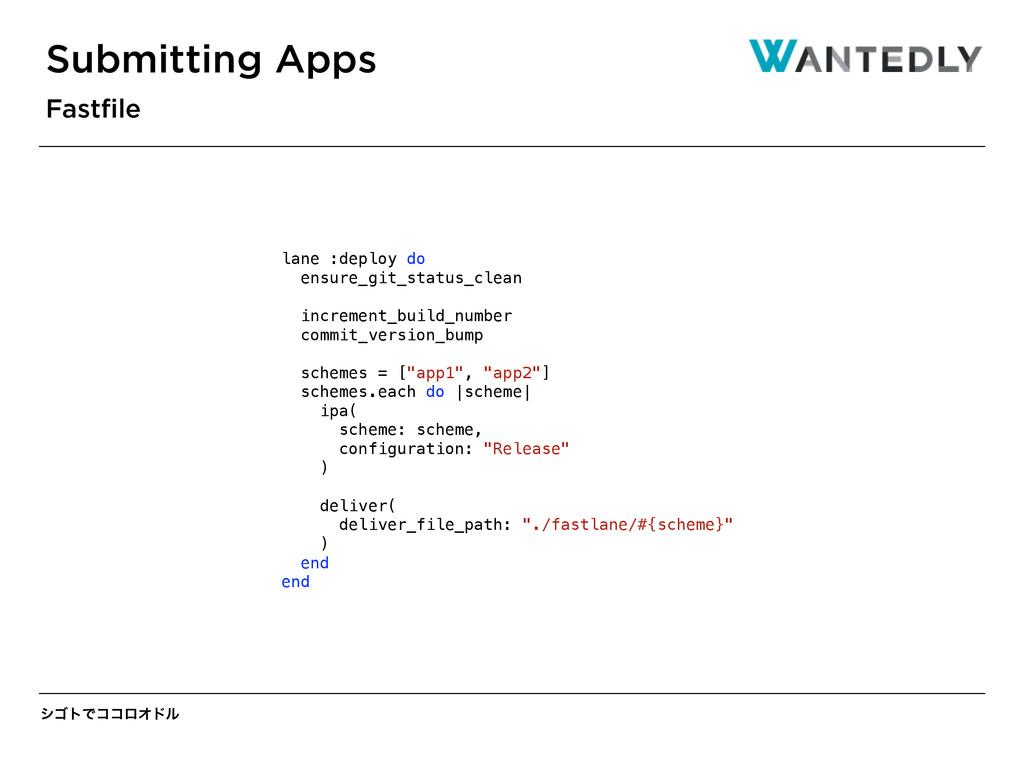γΰτͰίίϩΦυϧ Submitting Apps Fastfile lane :deploy...
