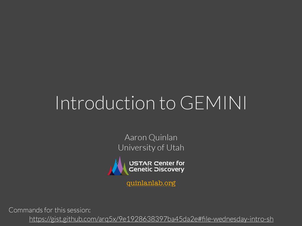 Introduction to GEMINI https://gist.github.com/...