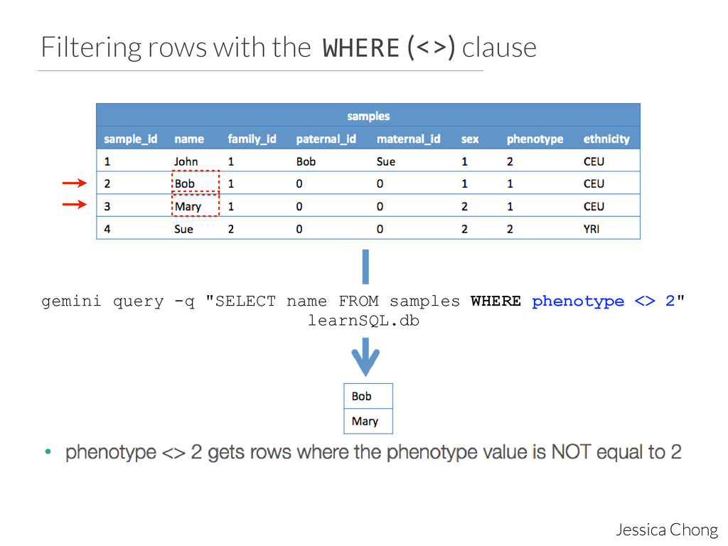 Filtering rows with the WHERE (<>) clause Jessi...