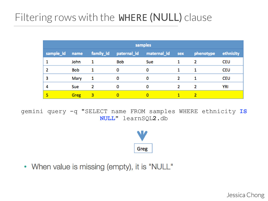 Filtering rows with the WHERE (NULL) clause Jes...