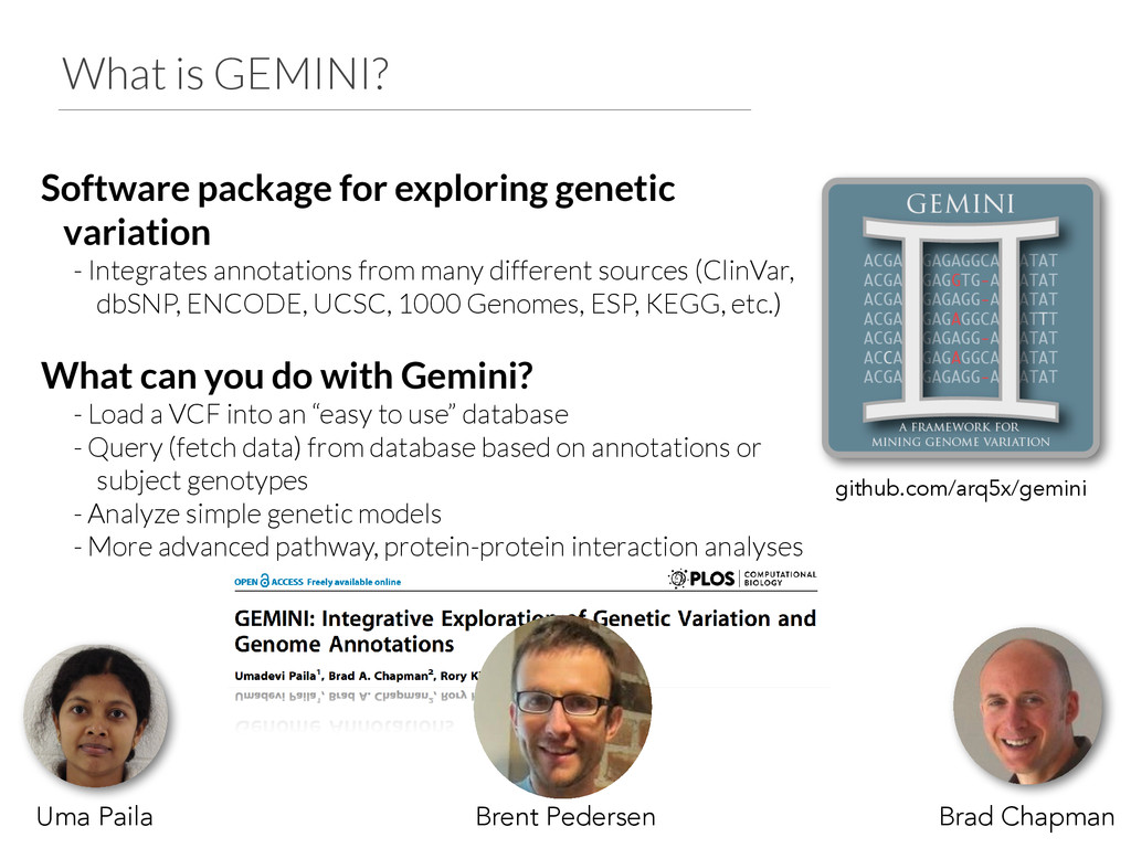 What is GEMINI? Software package for exploring ...