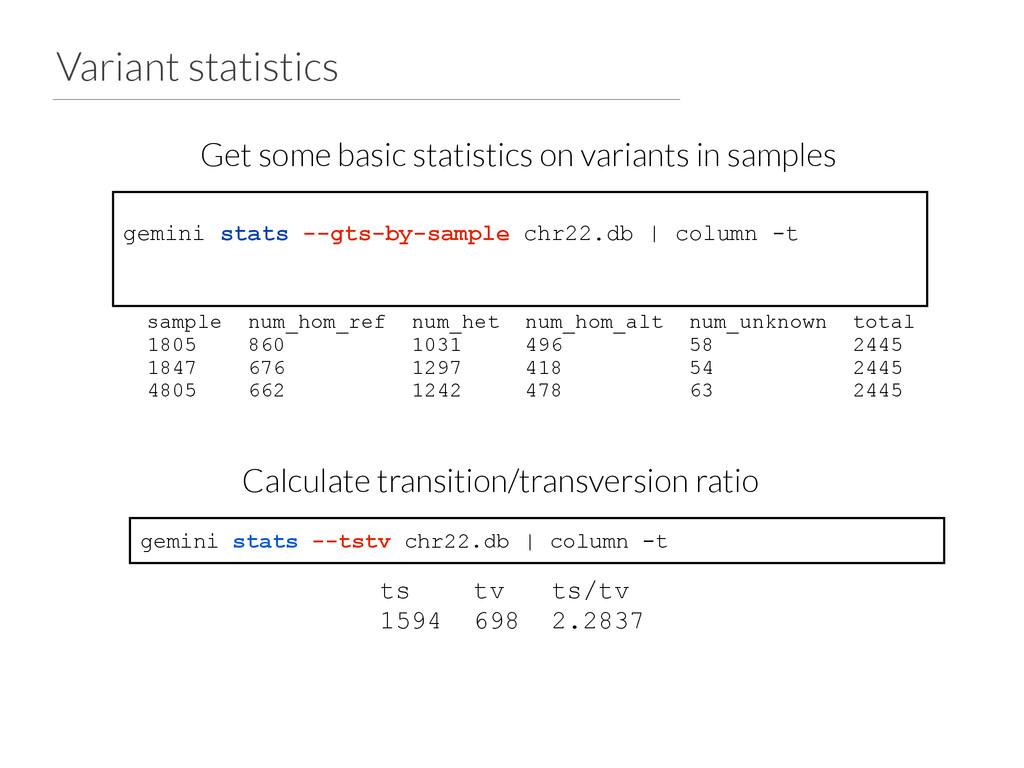 Variant statistics gemini stats --gts-by-sample...