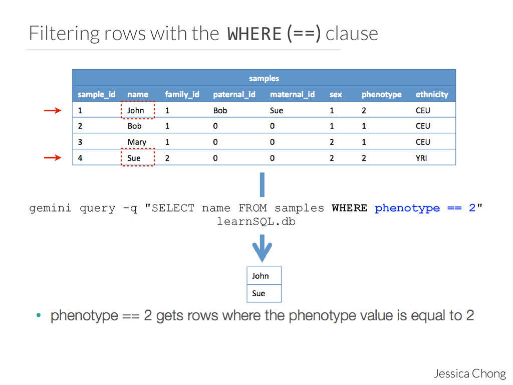 Filtering rows with the WHERE (==) clause Jessi...
