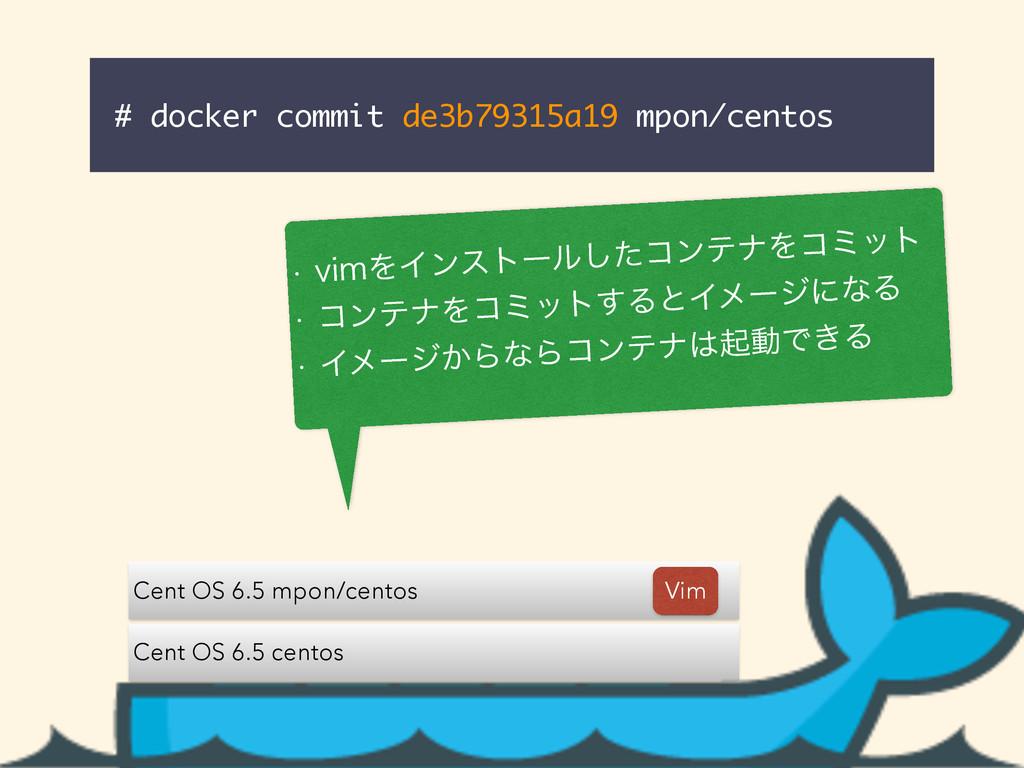 # docker commit de3b79315a19 mpon/centos Cent O...