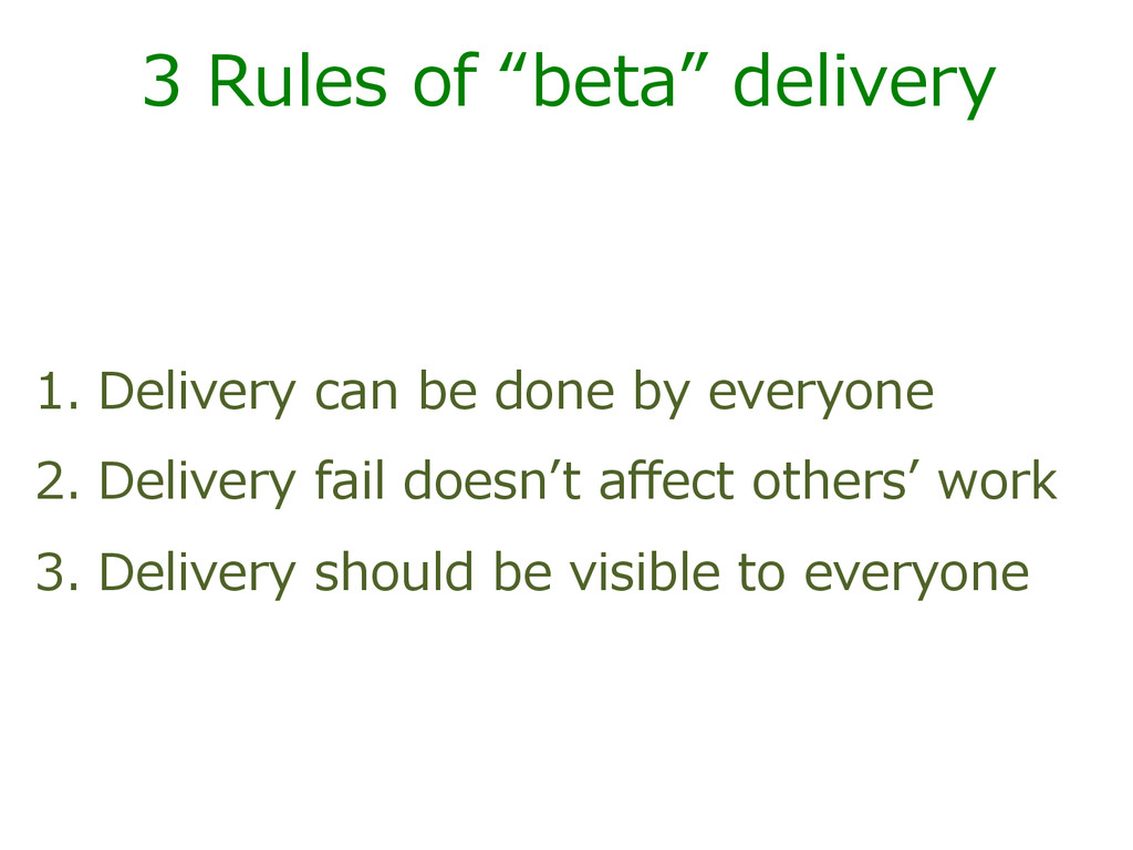 "3  Rules  of  ""beta""  delivery   1.  Delivery  ..."