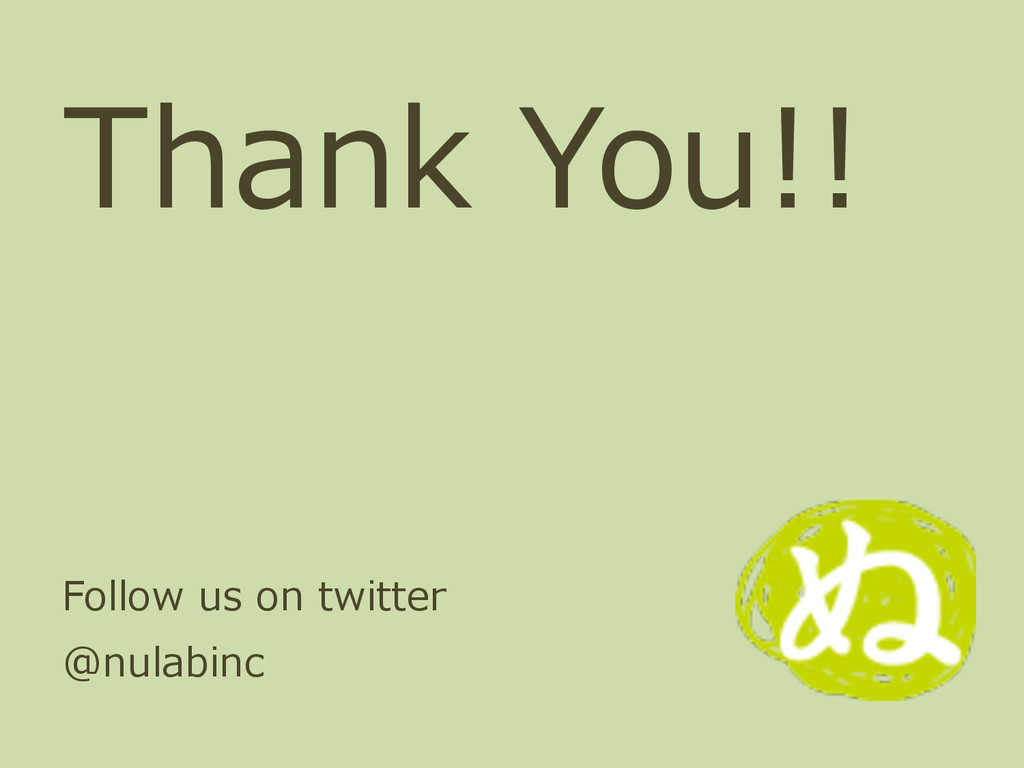 Thank You!! Follow us on twitter  @nulabinc