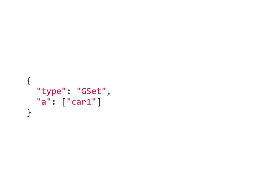 "{    ""type"": ""GSet"",    ""a"": [""car1""] ..."