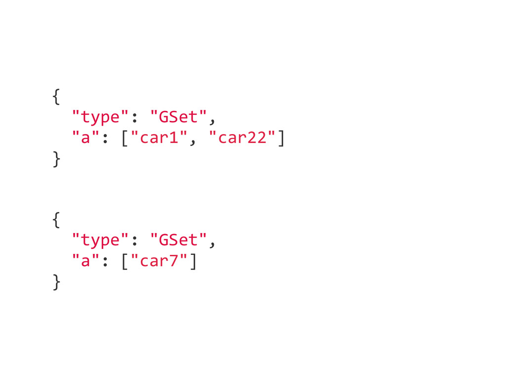 "{    ""type"": ""GSet"",    ""a"": [""car1"", ..."