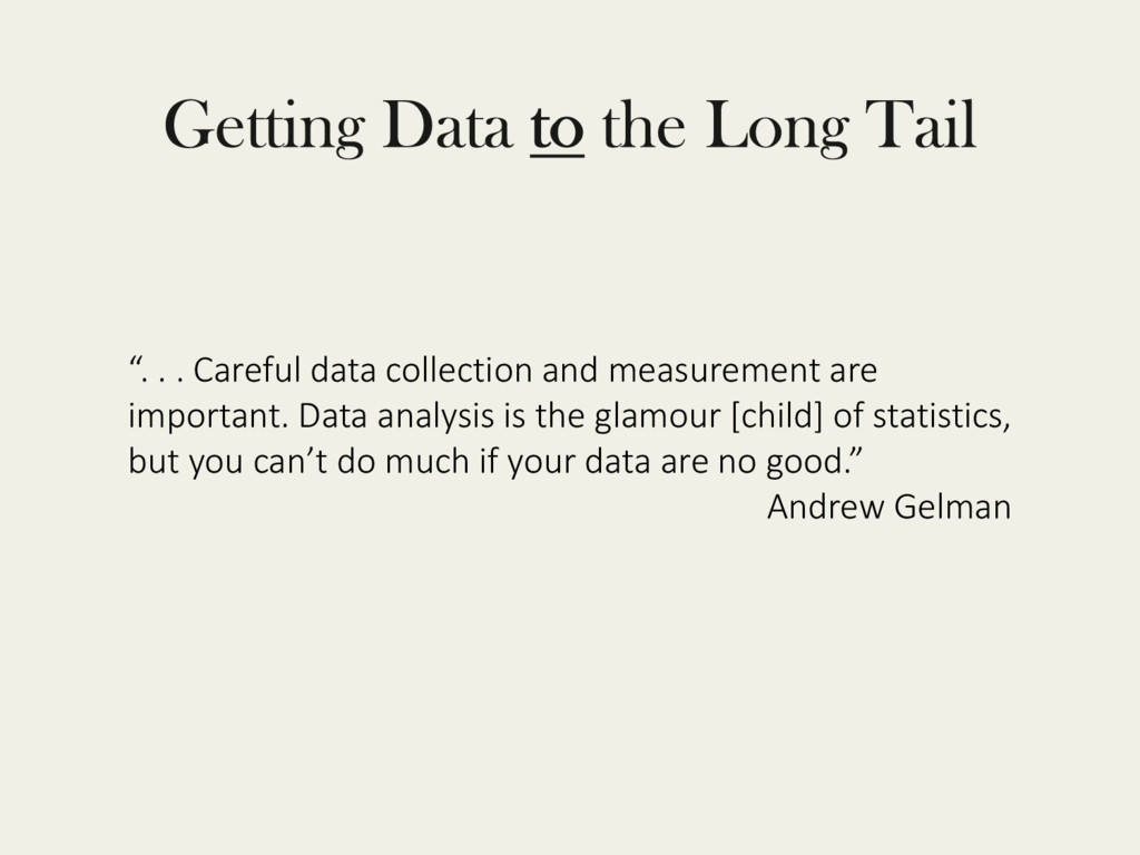 """. . . Careful data collection and measurement ..."