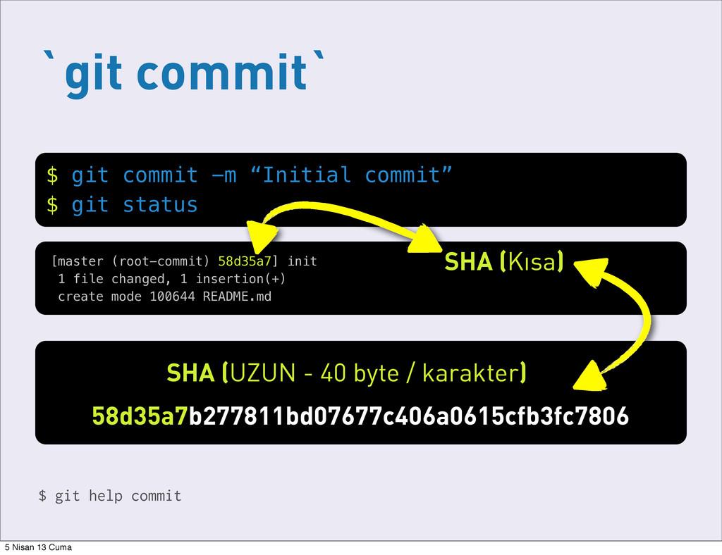 """`git commit` $ git commit -m """"Initial commit"""" $..."""