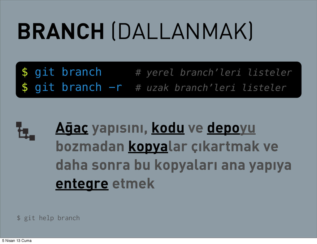 BRANCH (DALLANMAK) $ git branch # yerel branch'...