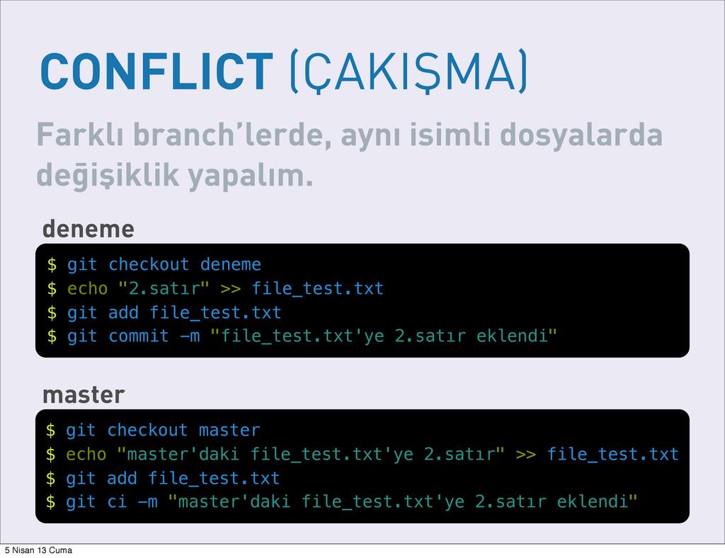 CONFLICT (ÇAKIŞMA) Farklı branch'lerde, aynı is...