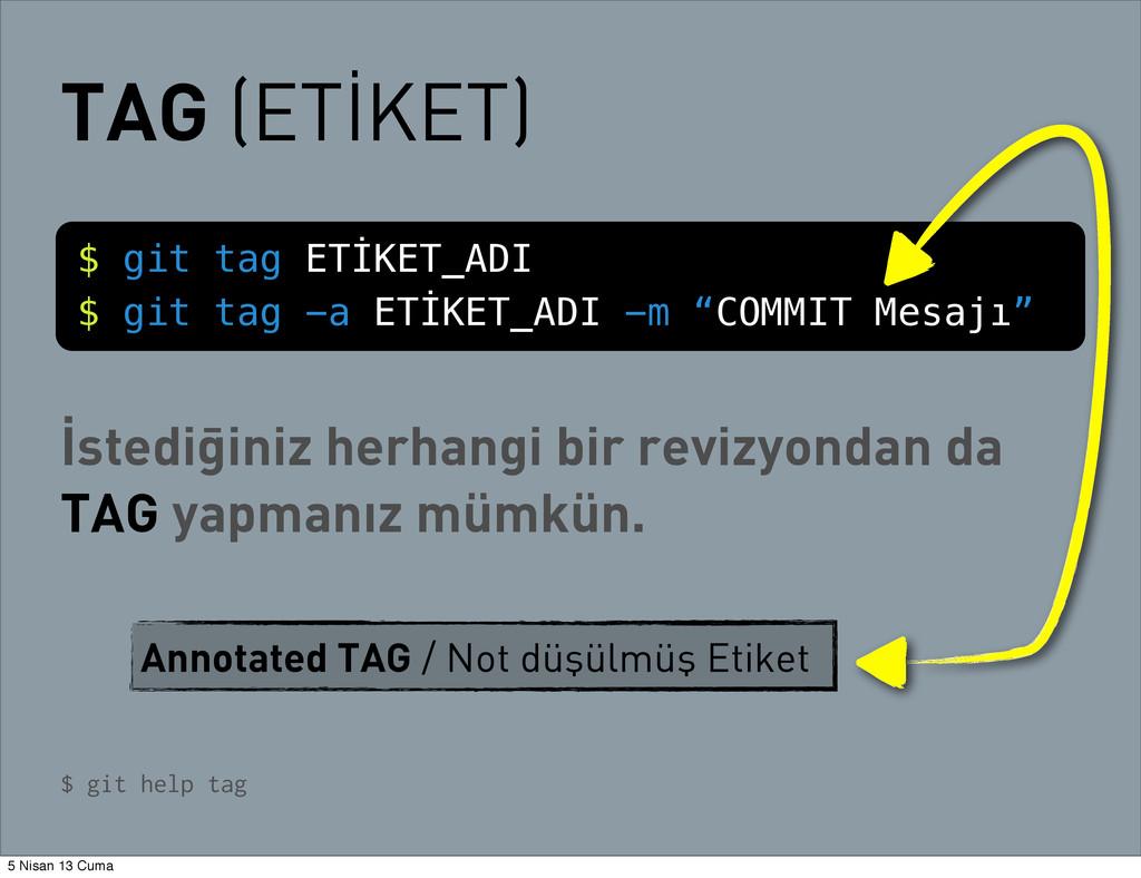 TAG (ETİKET) $ git tag ETİKET_ADI $ git tag -a ...