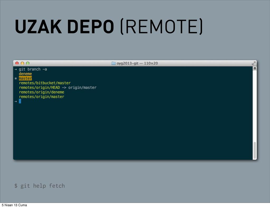 UZAK DEPO (REMOTE) $ git help fetch 5 Nisan 13 ...