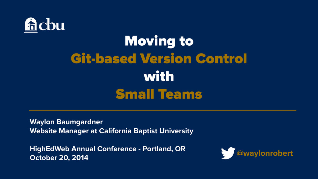Moving to Git-based Version Control with Small ...