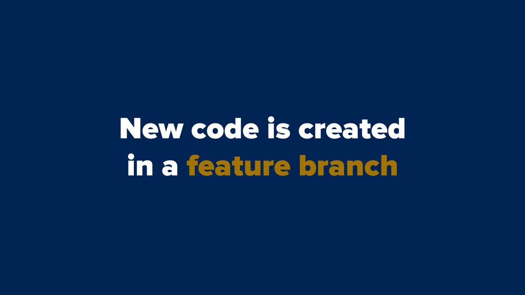 New code is created in a feature branch