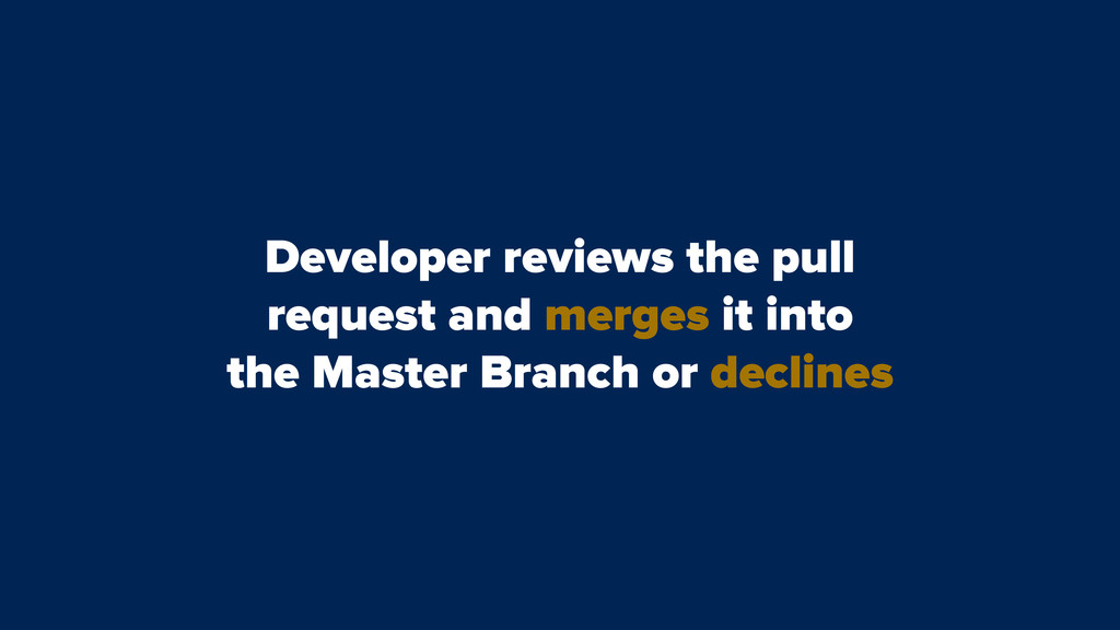Developer reviews the pull request and merges i...