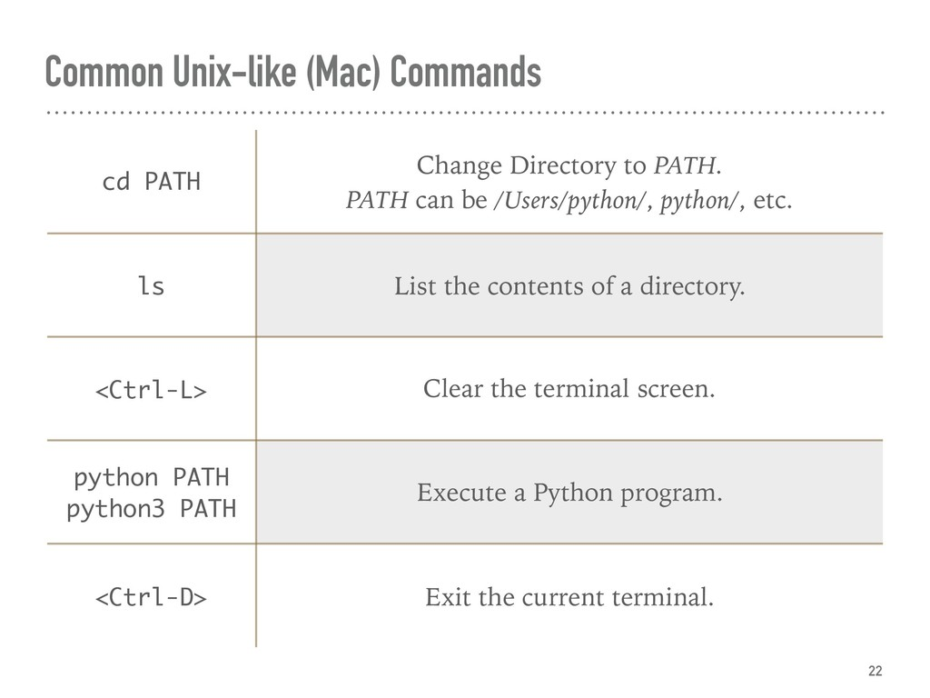 Common Unix-like (Mac) Commands 22 cd PATH Chan...
