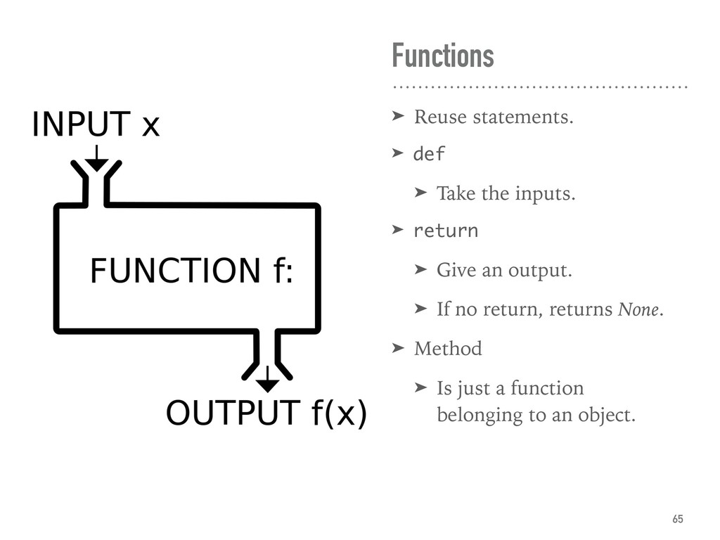 Functions ➤ Reuse statements. ➤ def ➤ Take the ...