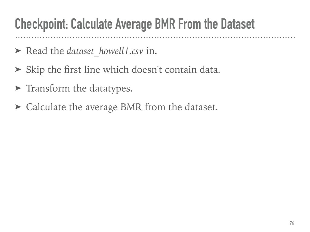 Checkpoint: Calculate Average BMR From the Data...