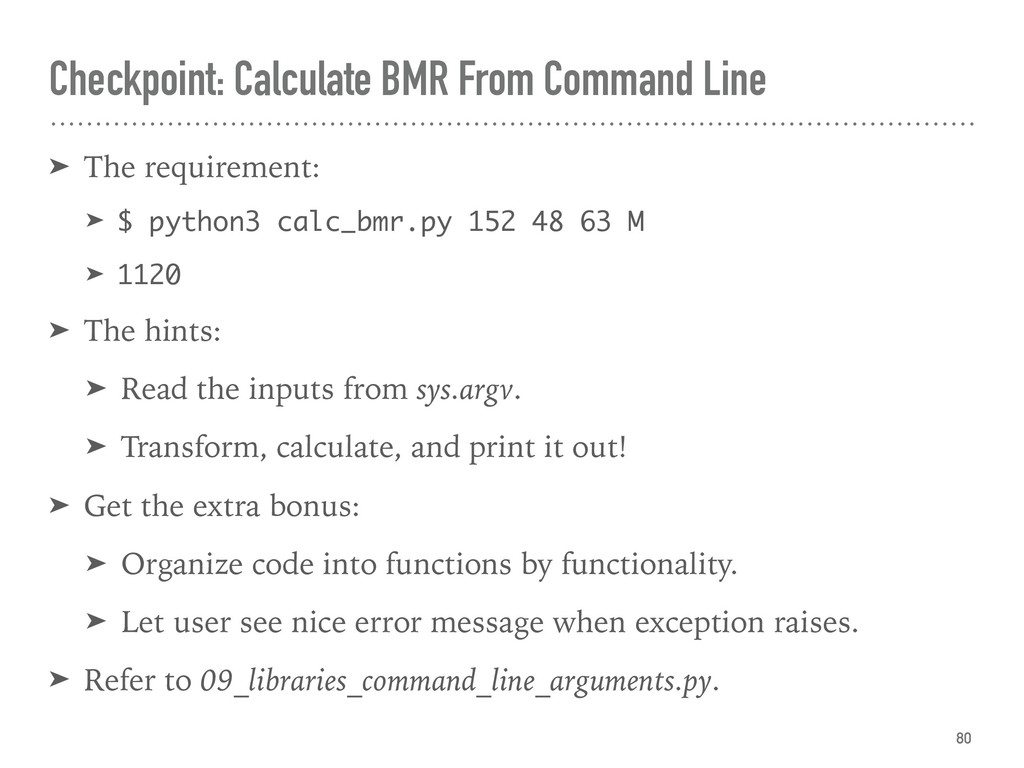 Checkpoint: Calculate BMR From Command Line ➤ T...