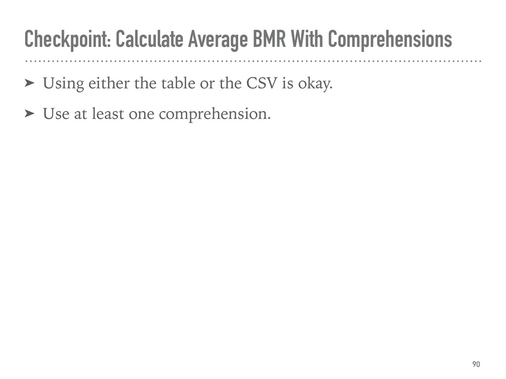 Checkpoint: Calculate Average BMR With Comprehe...