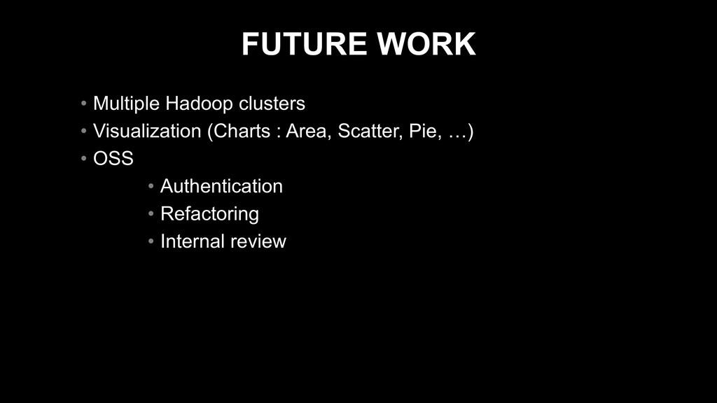 FUTURE WORK • Multiple Hadoop clusters • Visual...