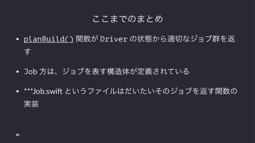 ͜͜·Ͱͷ·ͱΊ • planBuild() ͕ؔ Driver ͷঢ়ଶ͔Βదͳδϣϒ܈Λ...