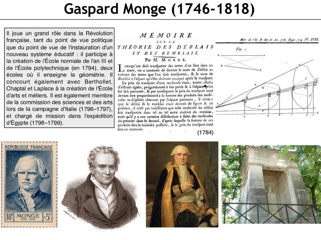 Gaspard Monge (1746-1818) Il joue un grand rôle...