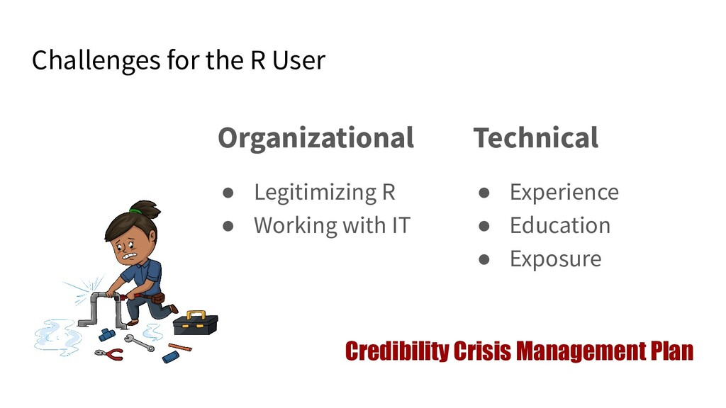 Challenges for the R User Organizational ● Legi...