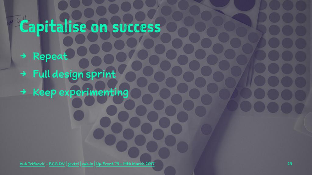 Capitalise on success 4 Repeat 4 Full design sp...
