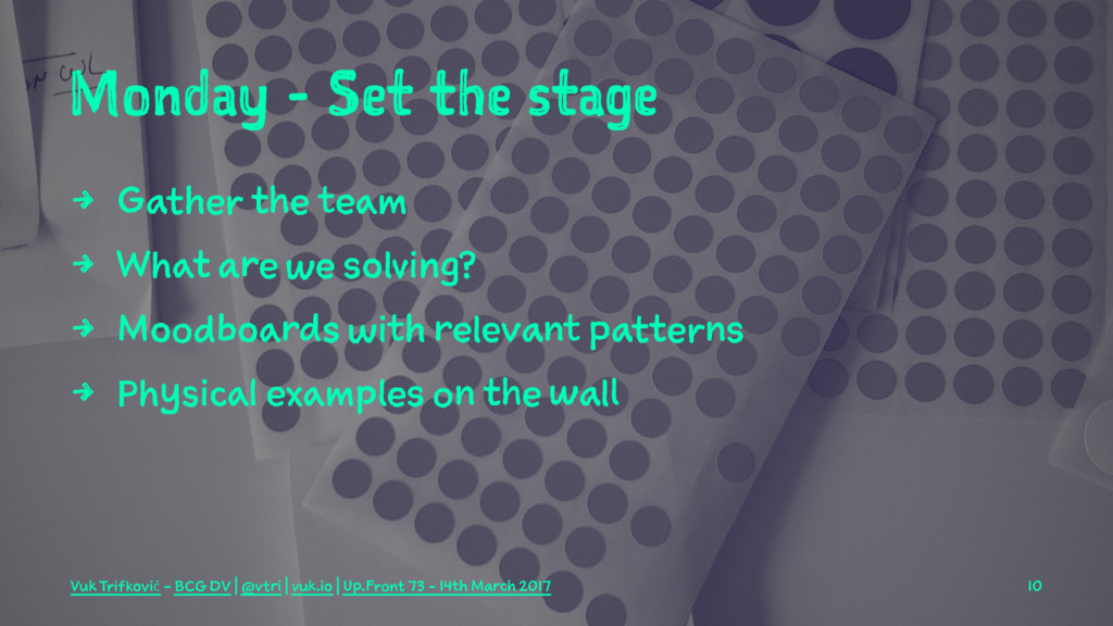 Monday - Set the stage 4 Gather the team 4 What...