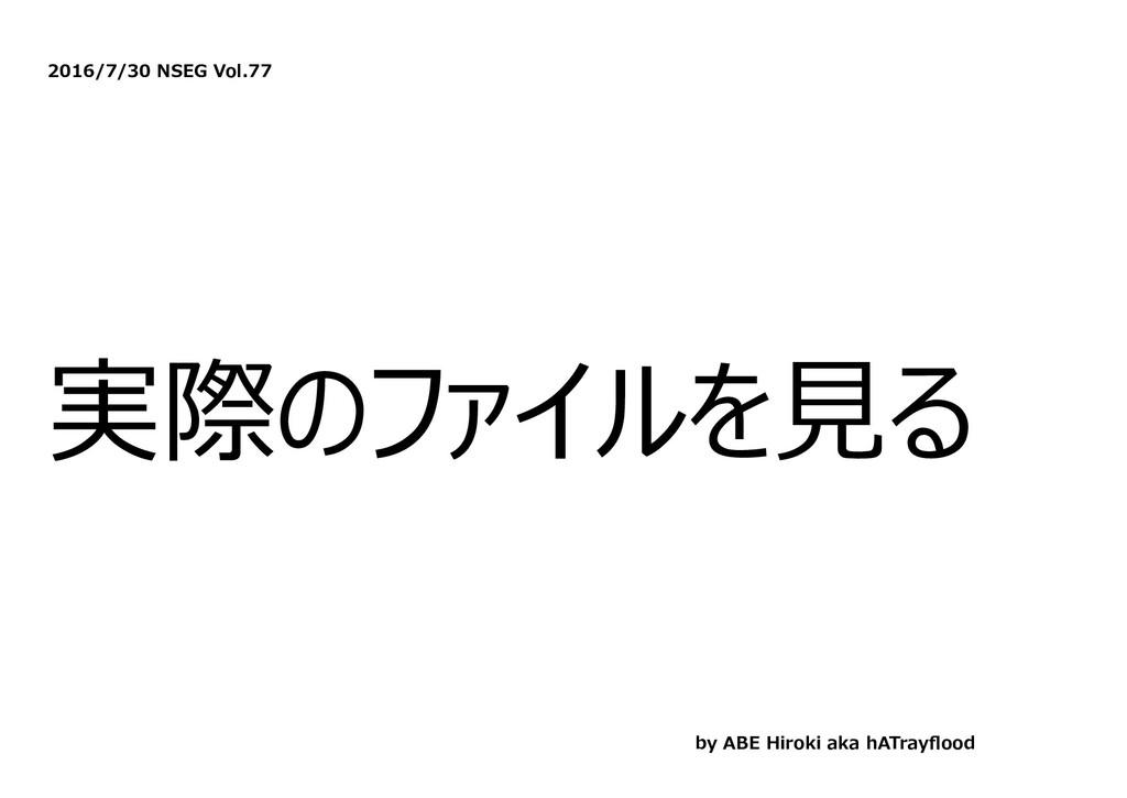 2016/7/30 NSEG Vol.77 実際のファイルを⾒る by ABE Hiroki ...