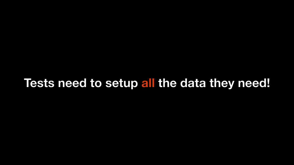 Tests need to setup all the data they need!