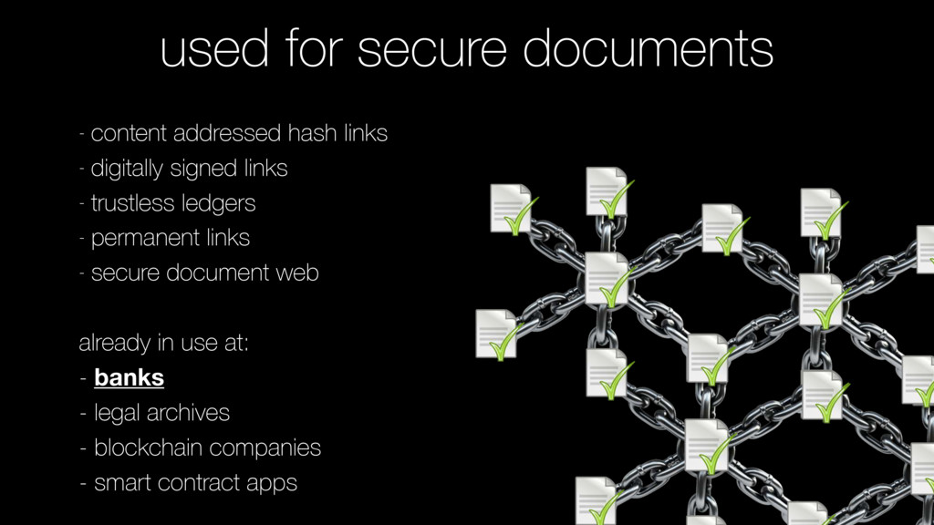 used for secure documents - content addressed h...