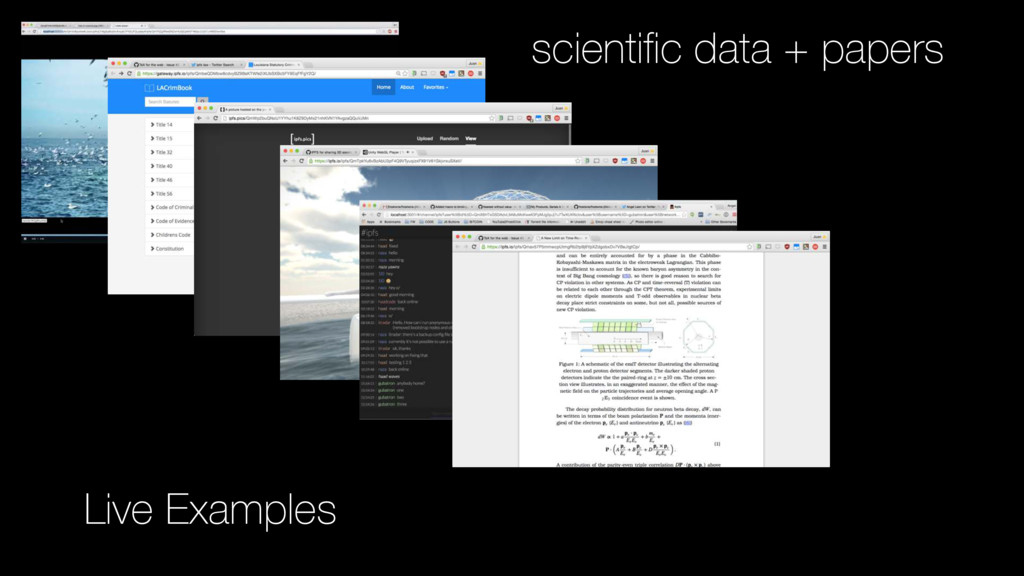 Live Examples scientific data + papers
