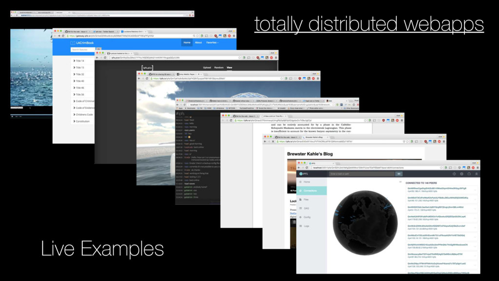 totally distributed webapps Live Examples