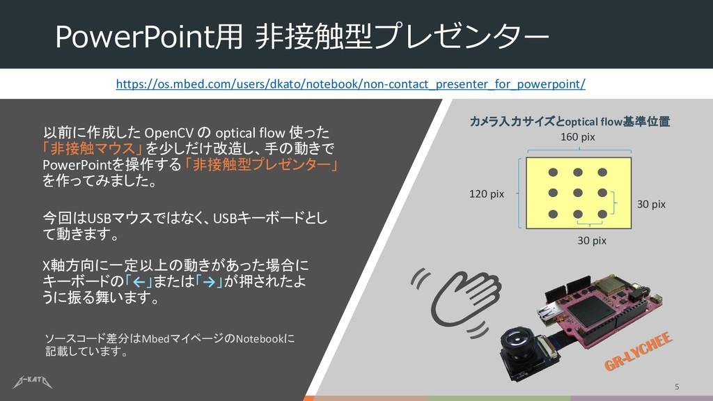 PowerPoint用 非接触型プレゼンター 以前に作成した OpenCV の optical...