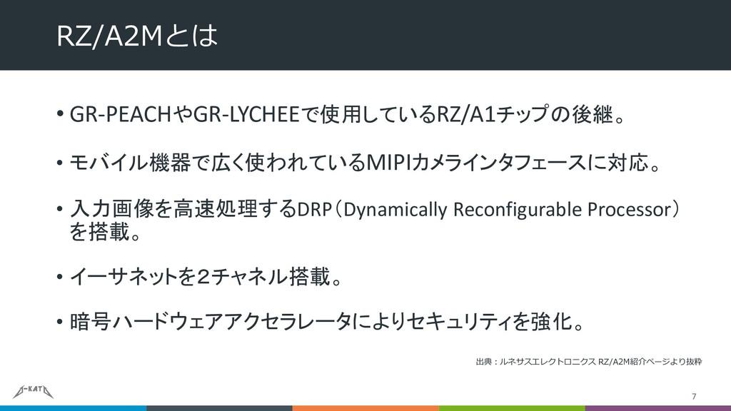 • GR-PEACHやGR-LYCHEEで使用しているRZ/A1チップの後継。 • モバイル機...