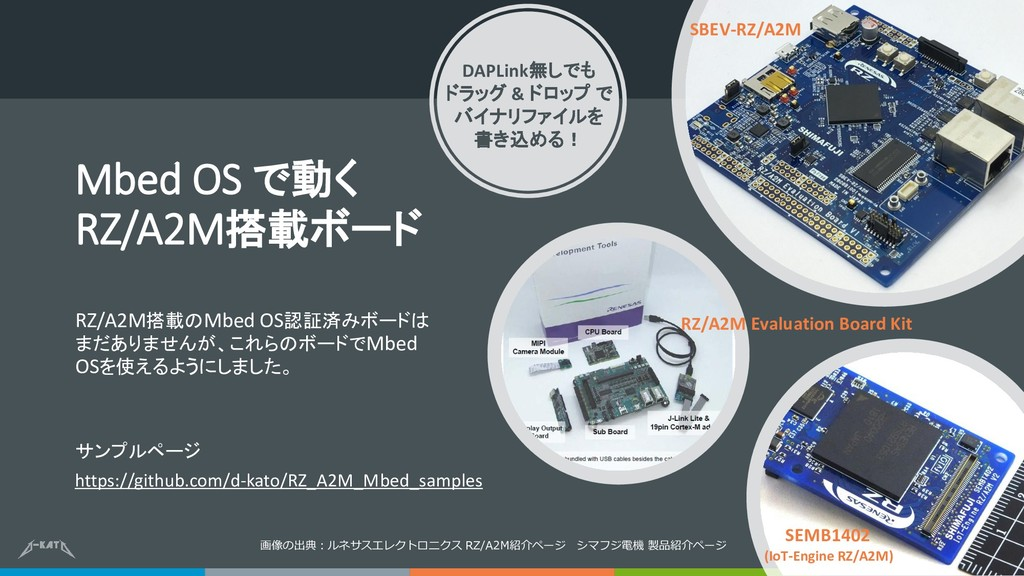 Mbed OS で動く RZ/A2M搭載ボード RZ/A2M搭載のMbed OS認証済みボード...