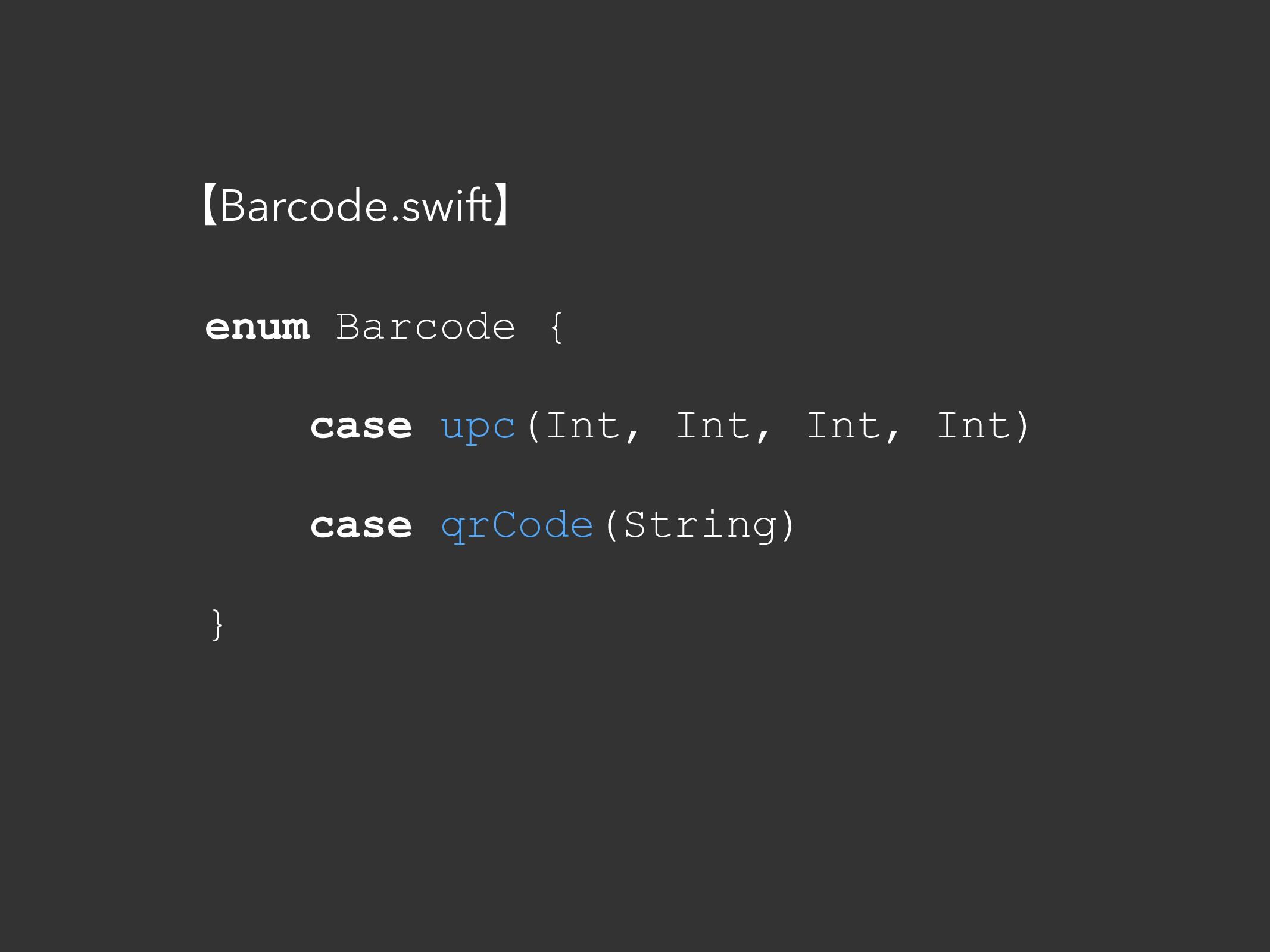 ʲBarcode.swiftʳ enum Barcode { case upc(Int, In...
