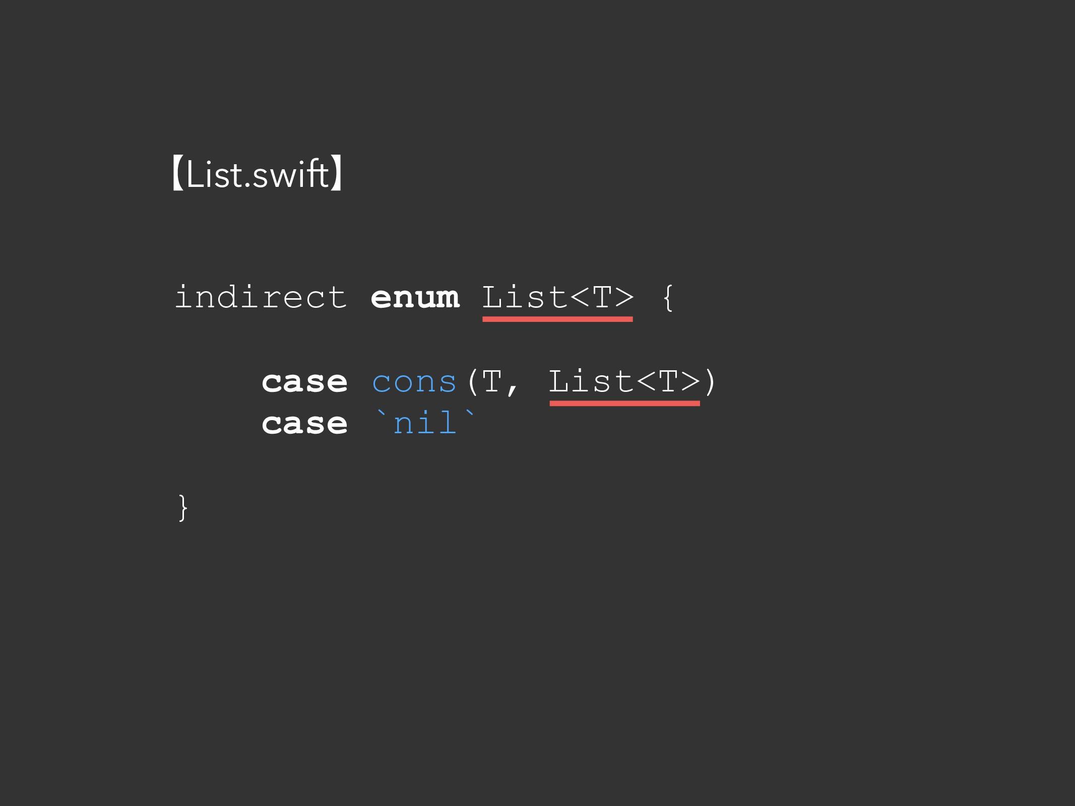 indirect enum List<T> { case cons(T, List<T>) c...
